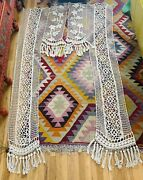 Antique Huge France French Grape Crocheted Pr. Curtains Panels Monumental Rare