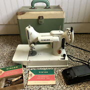 Vintage Singer White Featherweight Sewing Machine 221 W/ Case And Accessories 221k
