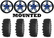 Kit 4 Frontline Acp Tires 37x9.5-22 On Frontline 505 Blue Wheels Can