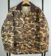 Vtg Size Large Camouflage Made In Usa Hunting Canvas Jacket Game Pouch