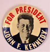 1960 Button John F Kennedy For President 3.5 Kim And Cioffi Metal Litho Vg+ Clean
