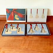 2 X 3 Christmas Gift Tags Tree And Sock 24 C Gold Plated Georg Jensen 2 Boxes