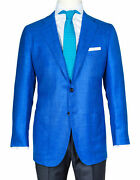 Kiton Jacket In Sky Blue Textured From Cashmere/canvas/silk Regeur5190