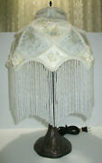 Victorian Style Bronze Table Lamp 6 Frosted Glass Beaded Fringe Brocade Shade