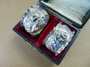 Pretty Pair Antique Sterling Silver Scrolls Napkin Rings 1911