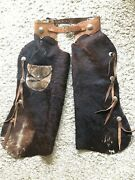 George Lawrence Chaps- Fur On - Studded W/ Desert Storm Challenge Coins