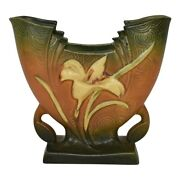 Roseville Pottery Zephyr Lily 1946 Brown And Green Pillow Vase 205-6