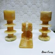 Carved Onyx Sphinx And Candlesticks - 3 Pc Set