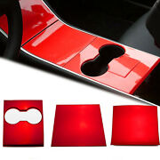 3x Red Interior Water Cup Holder Panel Molding Cover For Tesla Model Y 2020-21