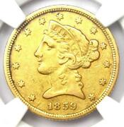 1859-c Liberty Gold Half Eagle 5 - Ngc Xf Details - Rare Charlotte Gold Coin