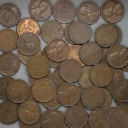 1944 D Lincoln Wheat Cent Roll 50 Circulated Pennies Us Coins