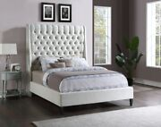 Soft Cream Color Velvet Brass Nailheads Tufted Headboard Queen Size Bed 1pc Set