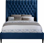 Soft Navy Color Velvet Brass Nailheads Tufted Headboard Queen Size Bed 1pc Set