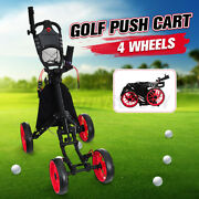 Foldable Golf Push Cart Aluminum 4 Wheels Golf Pull Push Cart With Cup Usa New