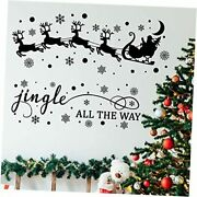 4 Sheets Christmas Santa Claus Elk Decals Wall Stickers Christmas Jingle All