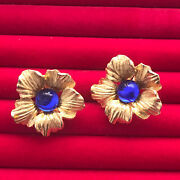 Vintage Gripoix Blue Gold Tone Flower Clip On Earrings Textured Costume Jewelry
