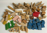 Vintage Wooden Building Blocks Toys 101 Pieces Painted And Natural 6+ Lbs