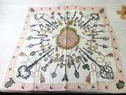 Hermes Scarf Silk 100 Carre 88 Pink System Square Sarasa For Bags Etc. Classy