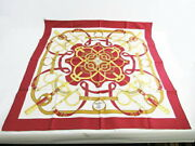 Hermes Scarf Silk 100 Carre 88 Red System Square Sarasa For Bags Etc. Classy