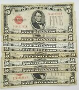 1928 Five Dollar Red Seal Note Silver Certificate 5 Old Us Bill Average Circ