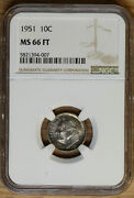 1951 Roosevelt Dime 10andcent - Ngc Ms66 Ft - Toned
