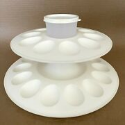 Tupperware Deviled Egg-ceptional Server With Cup 3 Piece Set White 3984 New