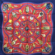 Hermes Scarf Carre90 Qu Importe Le Flacon Perfume Bottle Fragrance Navy Red