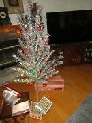 Vintage Aluminum Christmas Tree 6 Foot W/ Color Wheel And Ornaments Ff496
