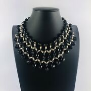 Black Faceted Bead Silver Tone Bib Chunky Statement Necklace Costume Boho Xmas