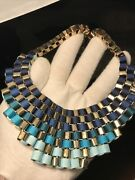 Bronze-tone Box Chain Light Blue Teal And Navy Ribbons Bib Necklace 18andrdquo - 21andrdquo
