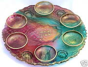 Richly Colored Handcrafted Glass Art Passover Pesach Seder Plate Judaica Israel