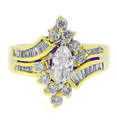1.78ct Marquise Round And Baguette Right Hand Ring 14k