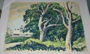Vintage Wr Lohse Cityscape Buildings And Trees Painting