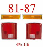 81 87 Chevy 4pc Front Side Ambers And Tail Light Set Gmc Truck 88 91 Dually