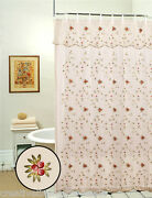 Embroidered Roses Shower Curtain Beige Free Sandh 8254