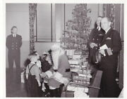 1940s 8x10 Photo Of U.s. Navy Officers With Santa Claus