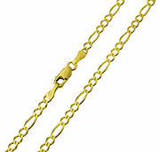 14k Real Yellow Gold Figaro Chain Necklace 2.7mm 24 1/8 Women And Children