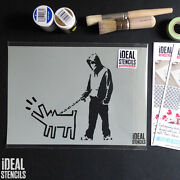 Banksy Stencil Hooded Youth And Haring Dog Paint Banksy Stencil Wall Art Reusable