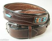 Santa Fe Leather Co Women's Western 1.5 Leather Belt Turquoise And Beadwork 620t