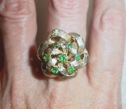 14k Yellow Gold Vintage Emerald Ribbon Cluster Ring - Size 6 - Lb1697
