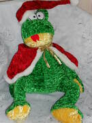 Christmas Frog Whimsical Toad W/hat And Red Cape 20 Stuffed Beanbag Plush