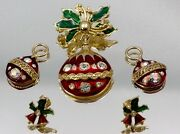 Holiday Rhinestone Enameled Christmas Ornament Brooch/pin With Earrings Jw1