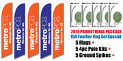 Five 5 15and039 Metropcs Feather Flags Kit With Poles And Spikes - Swooper Flag