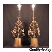 Pair Of Antique Italian Tole Metal Hand Painted Floral Table Lamps