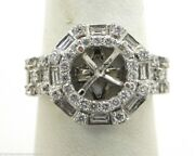 Beautiful Ladies 18k White Gold 1.17 Cts. Round And Baguette Diamond Semi-mount