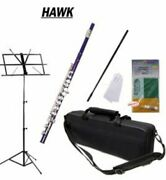 Hawk Purple Closed Hole C Flute Package Case Music Stand Cleaning Kit