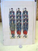 Vintage Paper Soldier Toy Display,11 French Foot Soldiers,1 Officer,3,c.1900