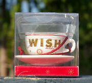 Starbucks Coffee Christmas 2006 Holiday Ornament Wish In Box Cup Saucer Plate