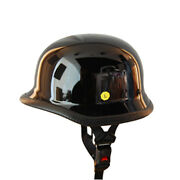 New Motorcycle Scooter Mopeds Half Face German Style Novelty Helmet Glossy Black