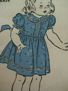 Vintage Advance 3215 Puff Sleeve Dress And Panties Sewing Pattern Girl Toddler Sz2